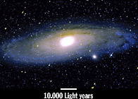 Andromeda galaxy with Scale of Light Years