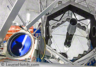 Keck Mirror and Laser Tube from Above