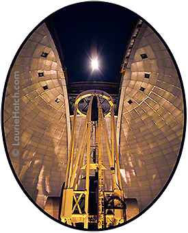 Lick Observatory's Shane telescope from inside the dome